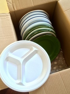 Pack plates with styrofoam plates
