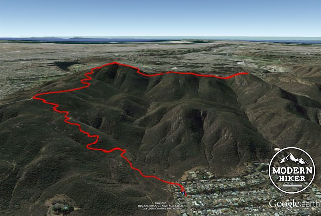 Cowles Mountain and Pyles Peak map