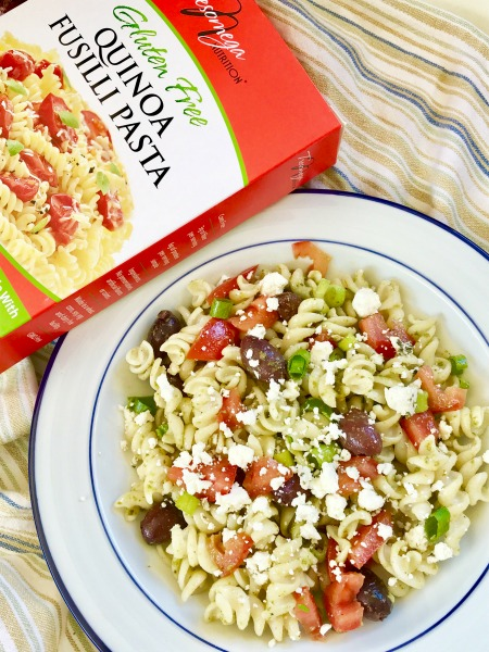 Looking for a gluten-free meal prep idea? This quinoa-based pasta salad comes together quickly and is delicious served warm for dinner or cold at lunch!