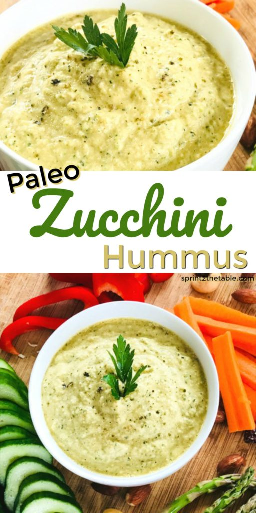 Paleo Zucchini Hummus is a delicious low-carb alternative to chickpea hummus.  It has a similar texture, but with fewer calories.  Enjoy as a light veggie dip or salad dressing!