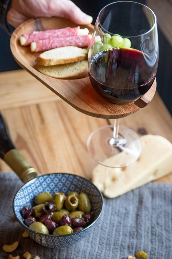 Cocktail plates that hold your wine AND your cheese!