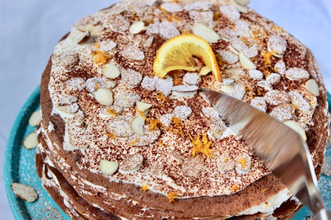 This simple-yet-elegant Chocolate Grand Marnier Crêpe Cake is *almost* too pretty to cut.
