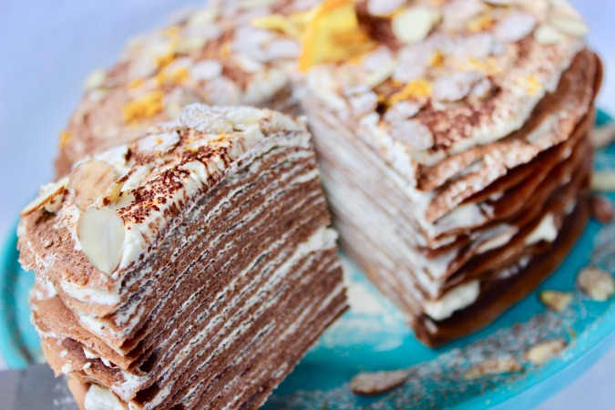 Chocolate Grand Marnier Crêpe Cake is not to heavy or too sweet, making it a perfect way to end a holiday meal!
