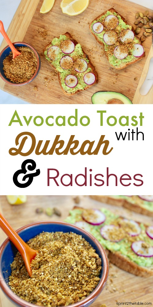 Dukkah makes you giggle when you say it, but you'll be smiling as you sprinkle this Egyptian spice blend on everything. Avocado Toast with Dukkah & Radishes is a delicious breakfast or snack any time of day!