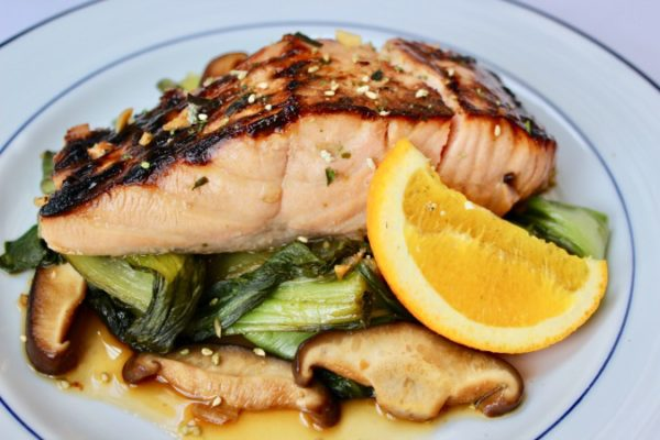 Honey-Orange Soy Glazed Salmon with Bok Choy & Mushrooms