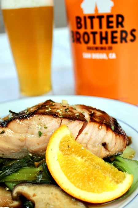 Honey-Orange Soy Glazed Salmon with Bok Choy & Mushrooms paired with Bitter Brothers' Only Child session IPA!